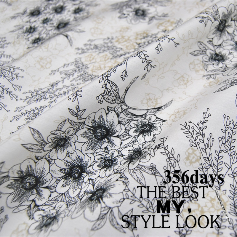 LEO&LIN White Flower 14 M/M Silk Cotton Thin Microlens Shirt Clothing Spring And Summer Dress Cloth Fabric DIY Sewing Patchwork