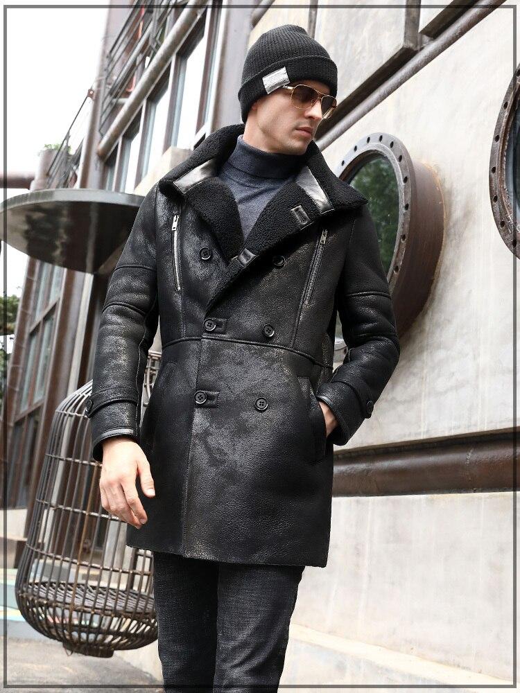 جاكيت شتوي من الجلد الطبيعي للرجال ، معطف شتوي من جلد الغنم ، صوف طبيعي ، 7121-1 KJ3288