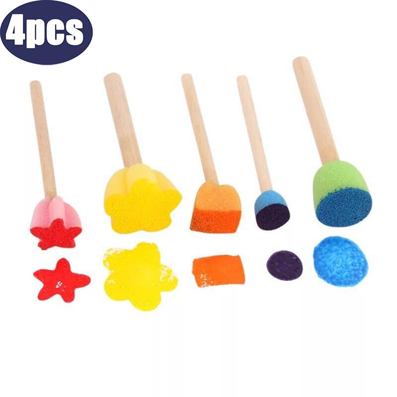 5pcs Kids Toddler Sponge Stamp Brush Kits Flower Drawing Toys For Children Paint Educational Art And