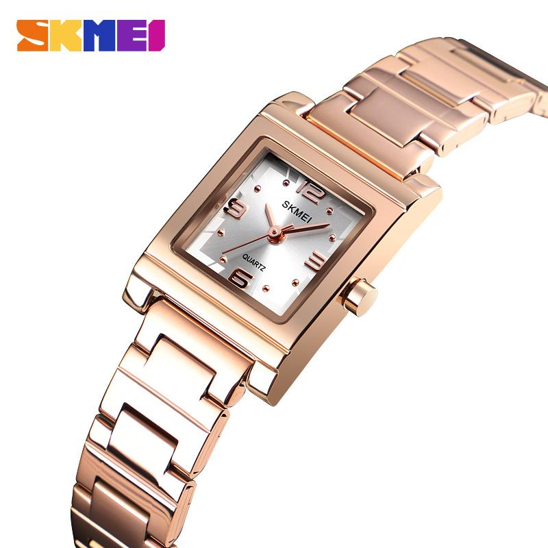 SKMEI Luxury Quartz Top Brand Women's Watch Light Fashion Stainless Steel Bracelet Crystal Watches Ladies  Relogio Feminino 1388