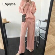 Style coréen femmes plissées vêtements ensembles élégant de haute qualité 2 pièces ensemble à manches longues T-Shirt hauts et pantalons amples rose 2020 nouveau