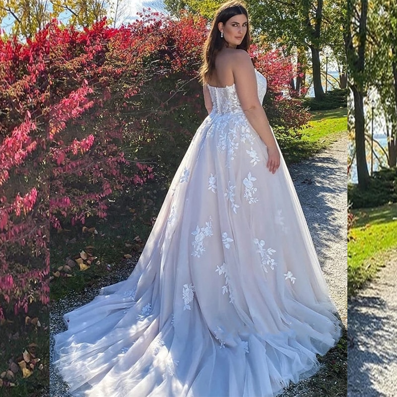 Review Lovely Wedding Dresses A-Line Sweetheart Sleeveless Tulle Floor-length Lace Appliques Pearl Cute Bridal Gowns Vestido De Novia