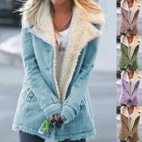 women long sleeve faux denim jacket lapel button down thicken plush lined coat denim jacket warm padded coat