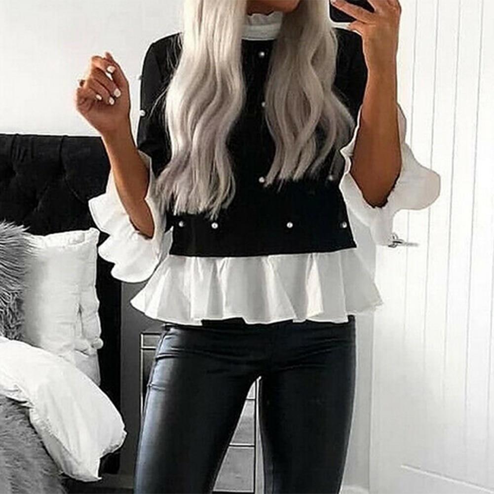 Nueva Blusa de manga larga con volantes y encaje para mujer, camisa holgada informal con perlas, Tops informales para mujer, blusas holgadas de talla grande