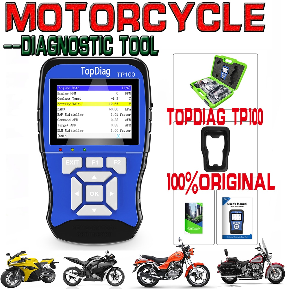 NEWEST TP100 Motorcycle Diagnostic Tool for kawasaki yamaha suzuki etc Motorbike Scanner Motor scan tool with battery tester