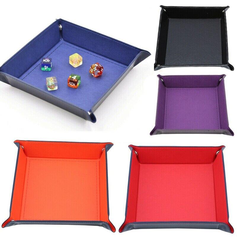 PU кожаные кубики прокатки лоток квадратные игральные кубики лоток коробка с кубиками для хранения настольных игр