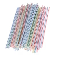 100pcsbag disposable straws flexible plastic straws striped multi colored rainbow drinking straws straw bar accessories