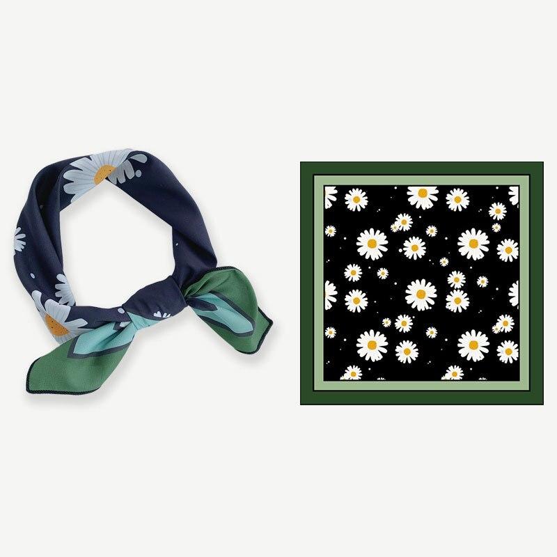 Pequeña bufanda de margaritas de 55cm, pañuelos cuadrados de marca para mujer, pañuelo, pañoleta de verano, turbante, pañuelos de seda de primavera para mujer