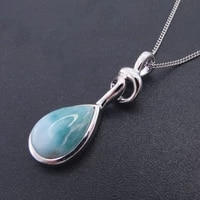 new arrival 9x13mm pearl natural larimar pendant 925 sterling silver jewelry womem pendant charm fine jewelry without chain