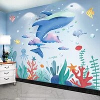 shijuehezi cartoon whale animal wall stickers diy seagrass plants mural decals for kids rooms baby bedroom home decoration