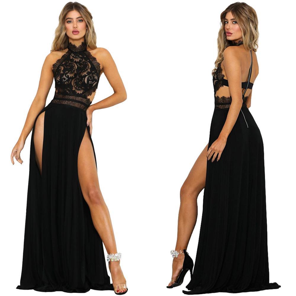 Vestidos sexis para mujer, vestido de verano sin mangas, cuello halter, encaje, crochet, Vestido largo de noche, vestido de fiesta sin espalda VKDR2185
