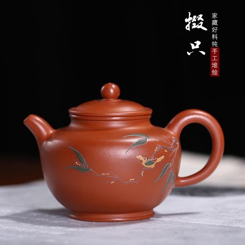 Tetera zhu arcilla pintura de fango dibujo manual o patrón Duo olla de guangdong kung fu tetera sketch yard