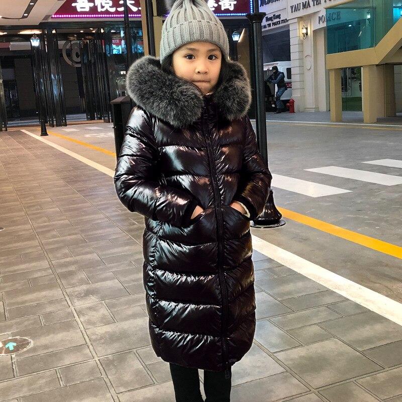 جاكيت أطفال للشتاء البارد ، معطف أطفال بطول الركبة ، سميك ، دافئ ومشرق ، بقلنسوة ، جلد طبيعي ، للأولاد والبنات