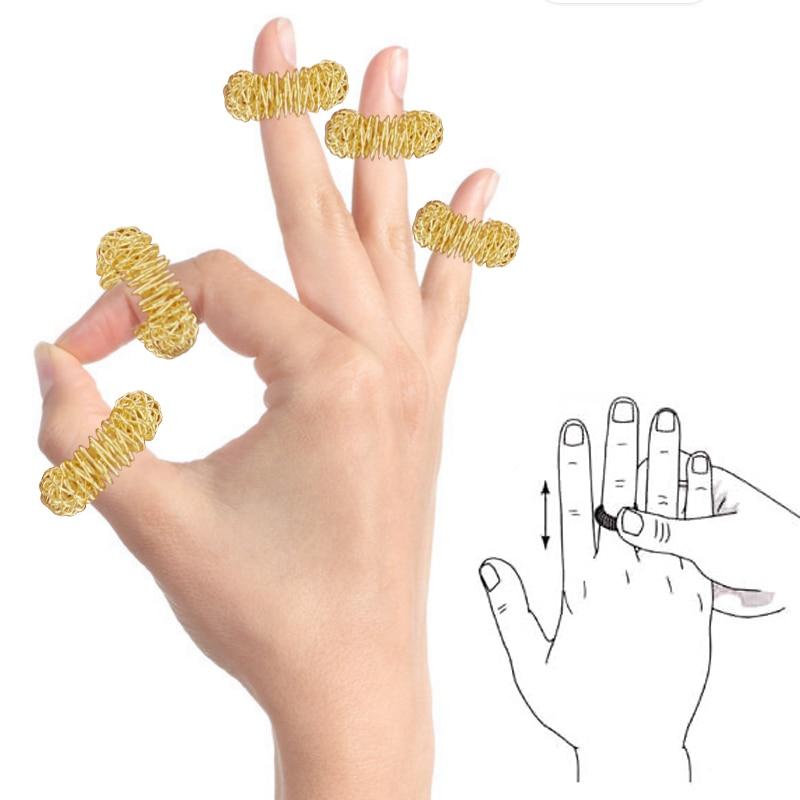 100Pcs Golden/Silver Finger Massage Ring Pain Relief Body Massage Help Sleep Health Care Relieve str