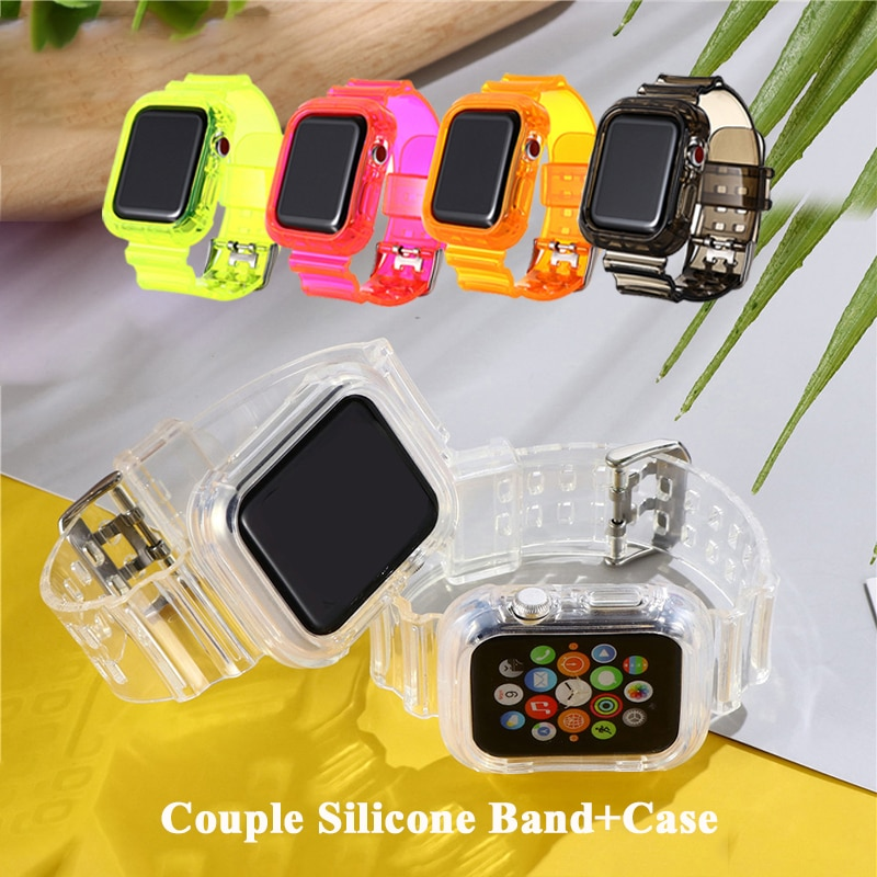 Couple Silicone band For Apple Watch 42MM 38MM Case+Transparent Rubber Band For Apple watch SE Serie