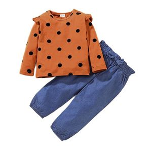 Spring And Autumn Girl Crew Neck Long Sleeve Cotton Dot Bow Elastic Band Europe America 2021 Casual Pants Suit Two-Piece TZ00185