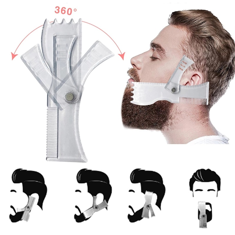 Men's Beard Shaping Tool Trimming Shaper Template Comb Styling Template Adjustable Beard Shaping & Styling Tool недорого