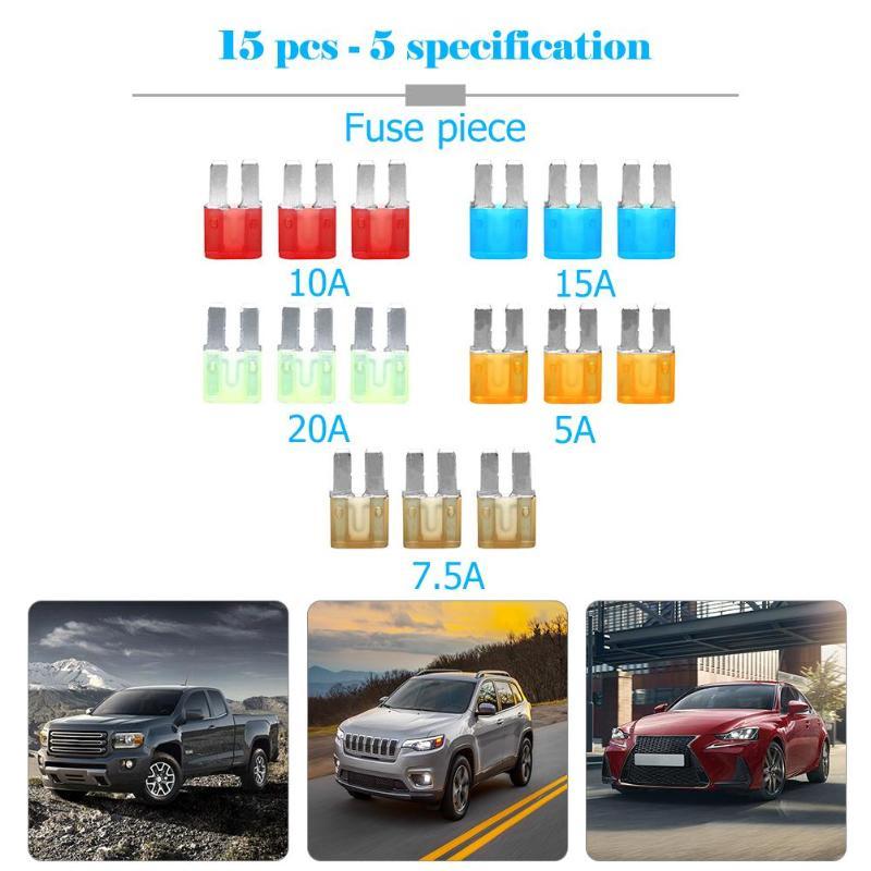 15 Uds Micro 2 fusibles 5A 7.5A 10A 15A 20A de coche automóvil hoja Kit de fusibles