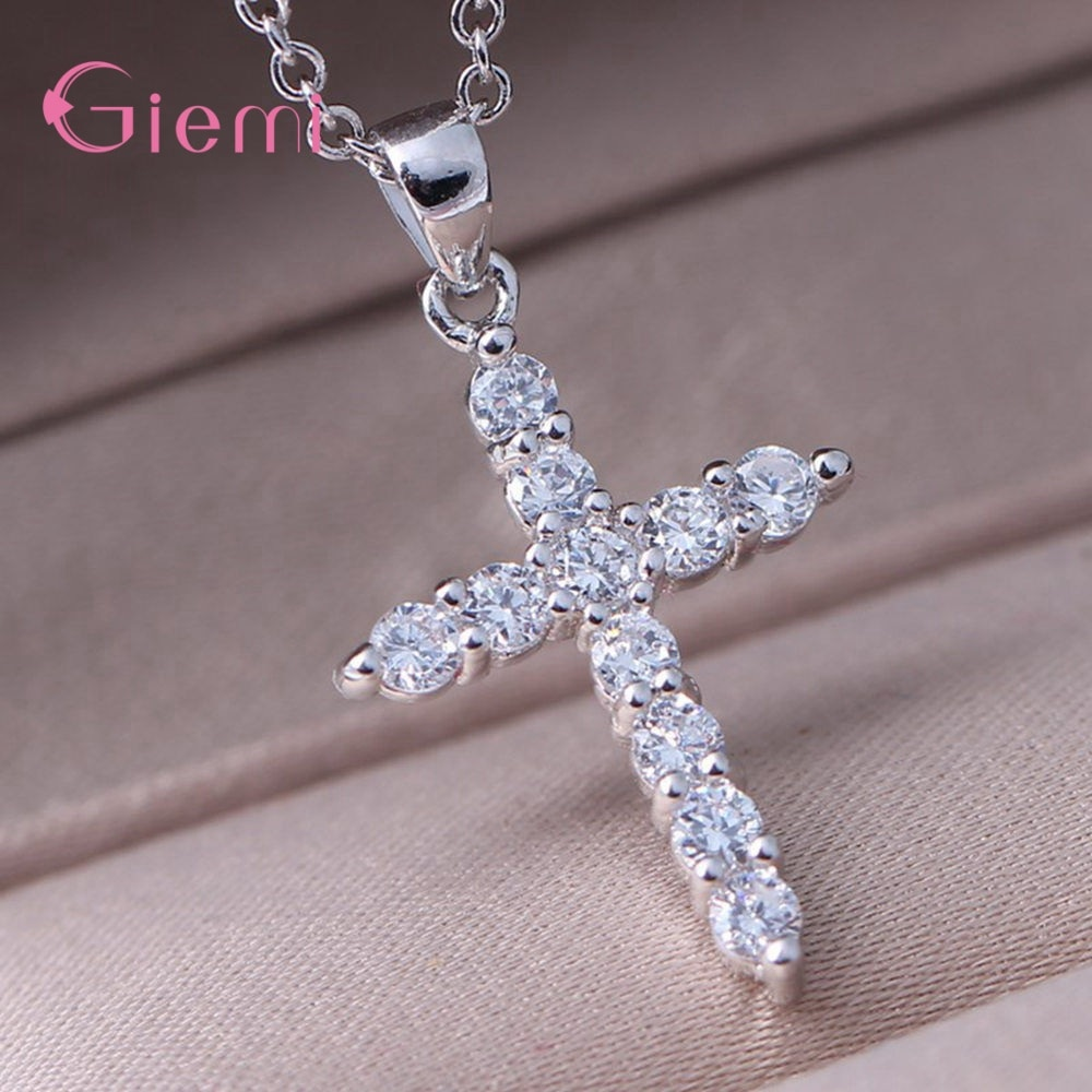 Hot Sale New Fashion 925 Sterling Silver Stunning Zircon Luxury Cross Pendant Box Chain Necklace For Women Trendy Jewelry