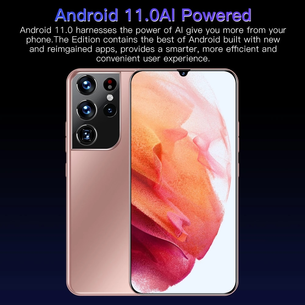 Global Version S21+ultra 6.7-inch Smartphone 5800mAh 12G+512G HD Screen Android 5G Cellphone Face ID Mobile Phone Support Google