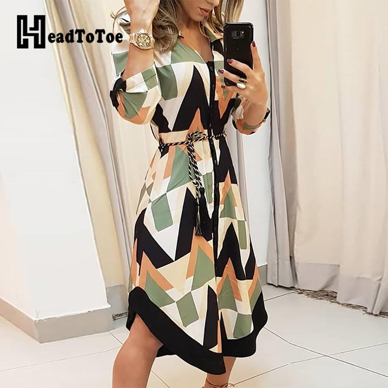 Colorblocked geo print feminino assimétrico casual camisa vestido senhora do escritório manga longa elegante workwear vestidos
