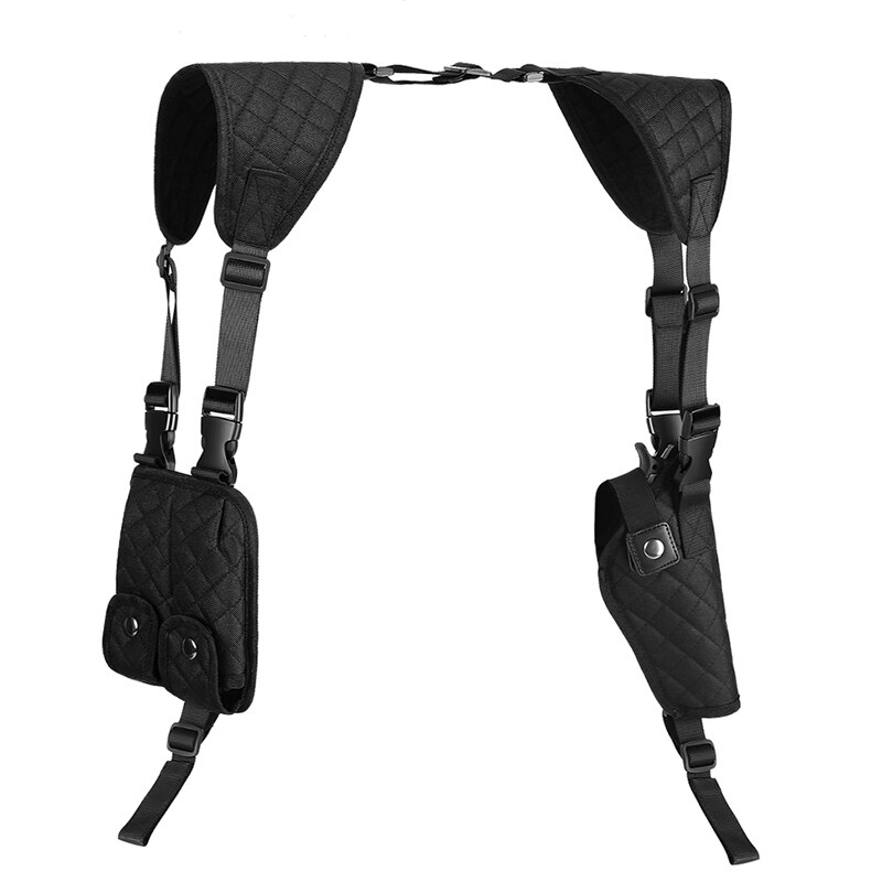 Concealed Shoulder Armpit Holster for Left Right Hand Use Nylon Cross Harness Vertical Full Adjustable Pouch for Most Pistol Gun