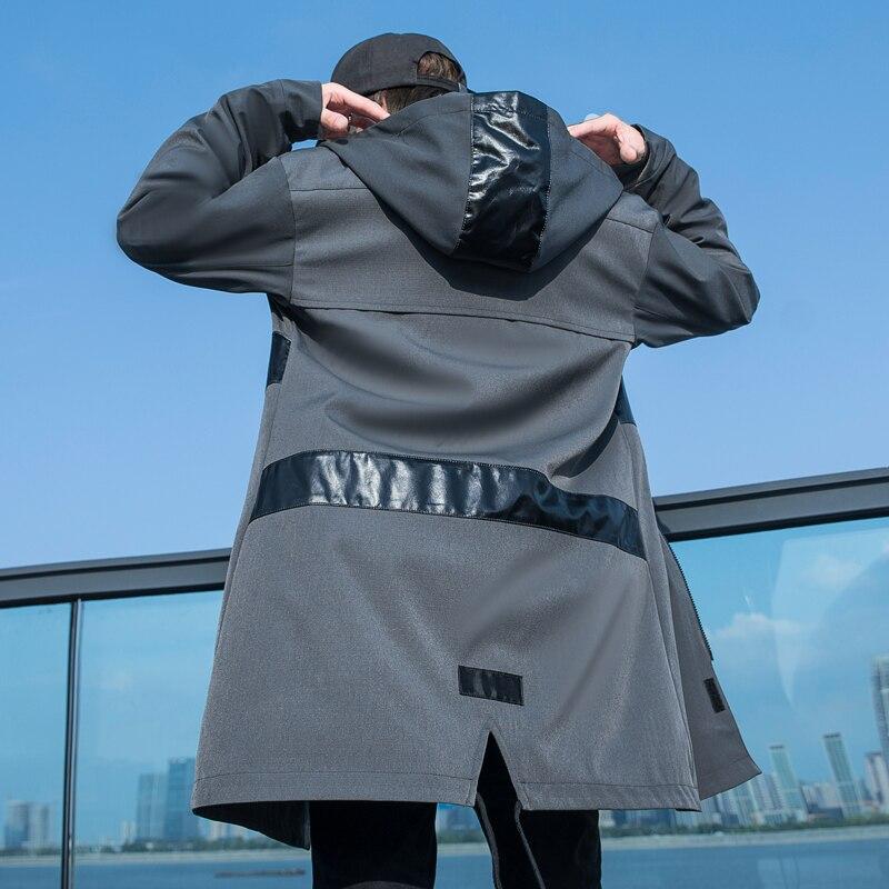 Тренчкот мужской длинный с капюшоном, модная ветровка свободного покроя в стиле пэчворк, с карманами, 3x l-m, на осень