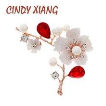 CINDY XIANG coquille et perle fleur broches pour les femmes élégant mode broche rouge cristal broche bijoux de mariage de haute qualité