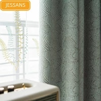 2021 new curtains for living room modern simple and fresh linen green chenille jacquard high blackout curtain for bedroom