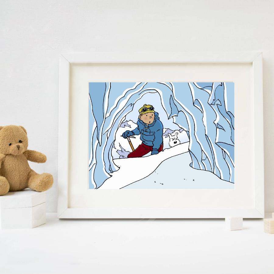 Póster de The Adventures Of Tintin, cuadro sobre lienzo para pared, imagen de personajes de dibujos animados, lienzo de Tintin, decoración de pared de habitación para niños