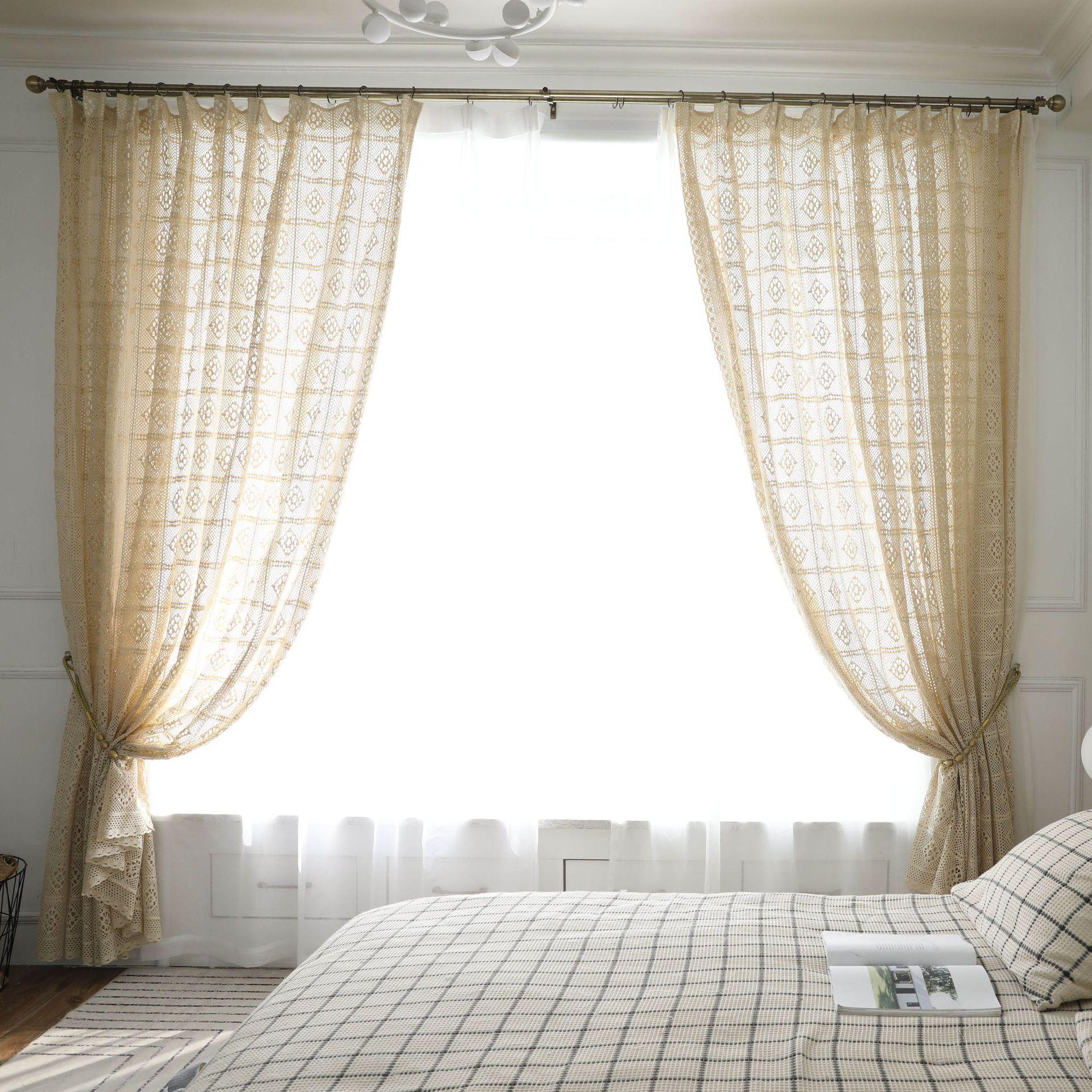 خمر نافذة الستار لغرفة المعيشة غرفة نوم الستائر الحديثة شير تول فستان من الدانتيل البيج اللون الأبيض