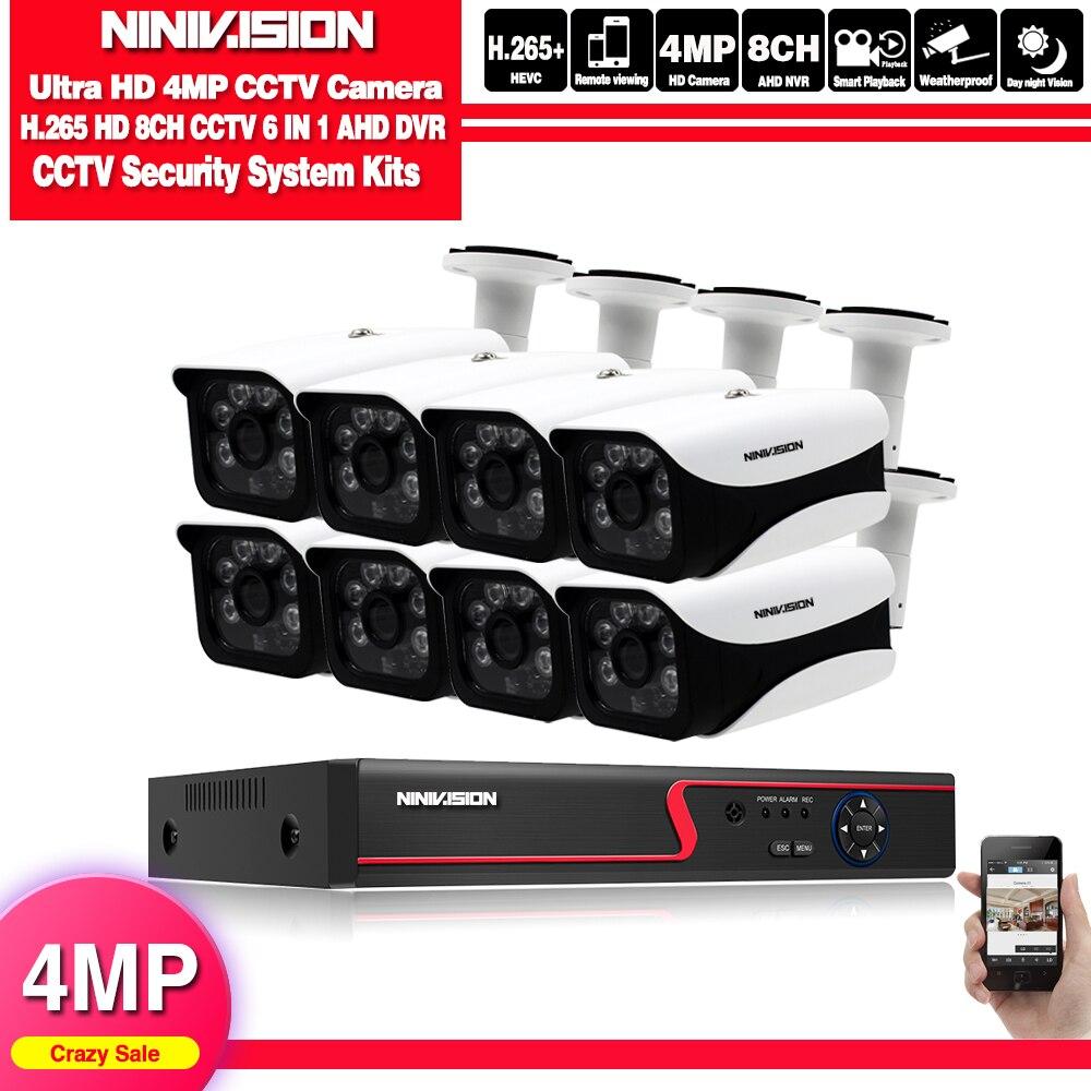 NINIVISION HD CCTV מערכת 4MP 8CH AHD DVR ערכת 8PCS 4.0mp 2560*1440 6PCS מערך נוריות אבטחה מצלמה חיצוני ערכת מעקב