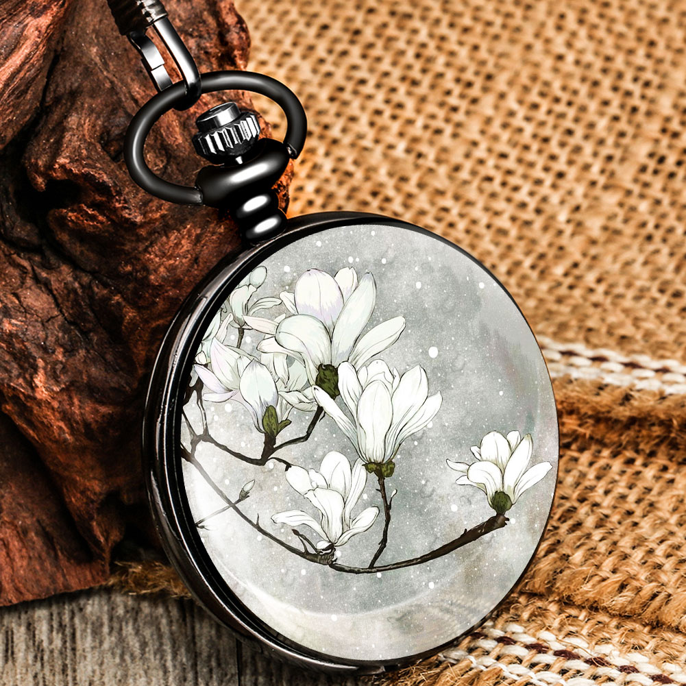 White Flowers In Winter Eegant Exquisite Pocket Chain Watch Quartz Dial Alloy High Quality Pendant A