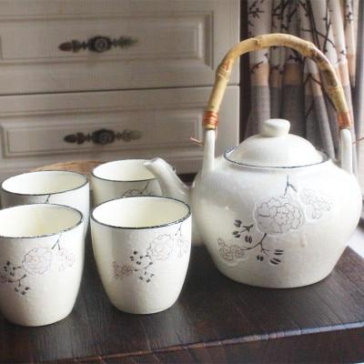 إبريق شاي سيراميك على الطريقة اليابانية ، غلاية منزلية ، إبريق شاي ملون مطلي يدويًا ، مقبض خيزران من الخيزران ، مع 4 أكواب شاي