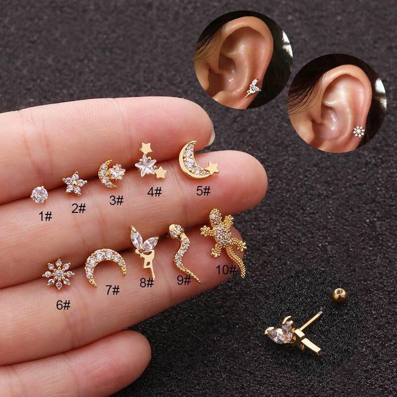 1Pc Stainless Steel Cartilage Stud Earring Cz Snake Lizard Gecko Flower Moon Helix Conch Screw Back Earring Ear Piercing Jewelry
