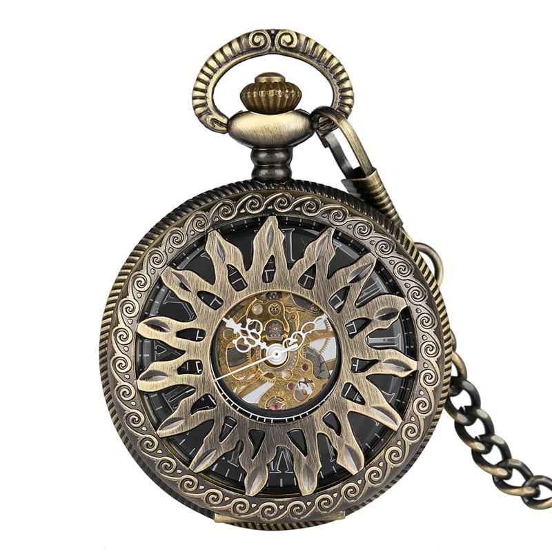 Antique Bronze Hollow Sun Flower Case Design Skeleton Handwind Mechanical Pocket Watch Gift to Men Women Roman Number Dial