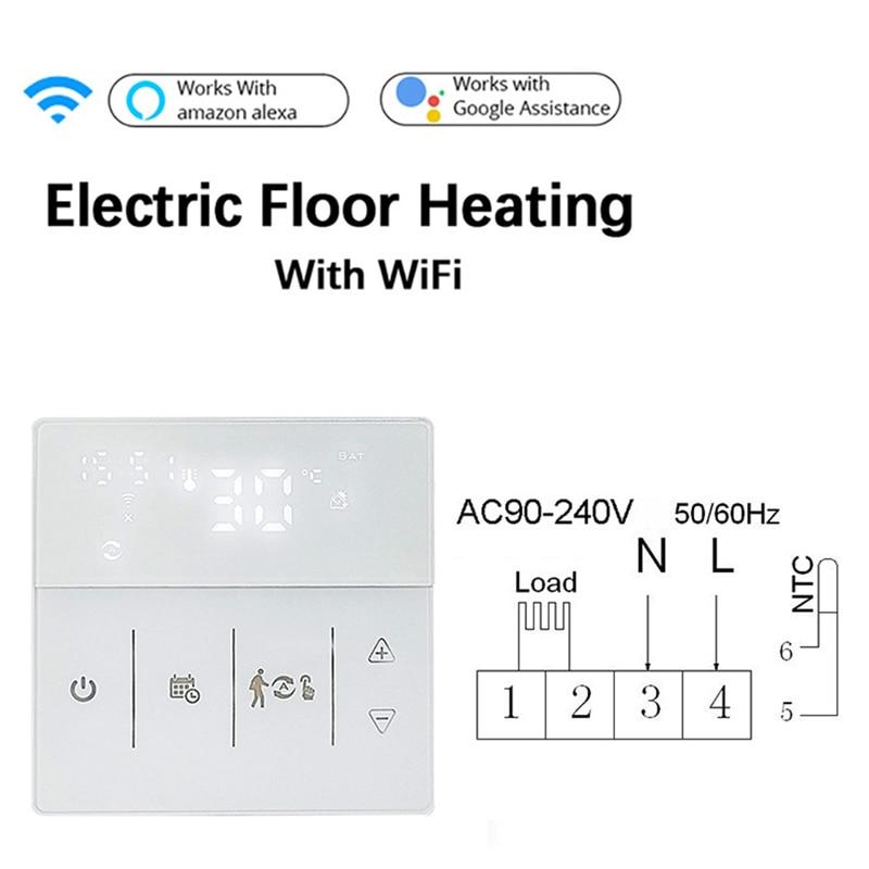 Tuya WiFi الذكية ترموستات الكهربائية الطابق التدفئة المياه/الغاز المرجل درجة الحرارة تحكم عن بعد يعمل مع جوجل المنزل اليكسا