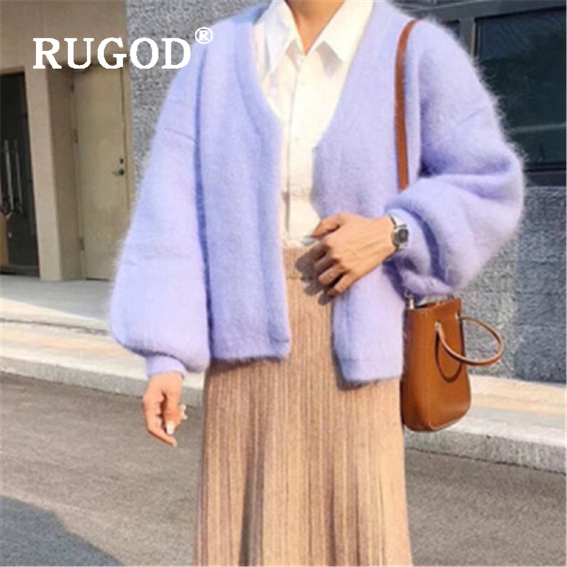 RUGOD elegante jersey de Cachemira de visón púrpura de moda para mujer cuello en V manga de linterna Cadigan femenino Otoño Invierno suéter abrigo Pull
