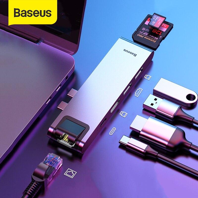 Baseus USB C محور USB HUB إلى USB 3.0 HDMI-متوافق محول للماك بوك برو الهواء محور TB 3 حوض RJ45 USB الفاصل المزدوج نوع C محور