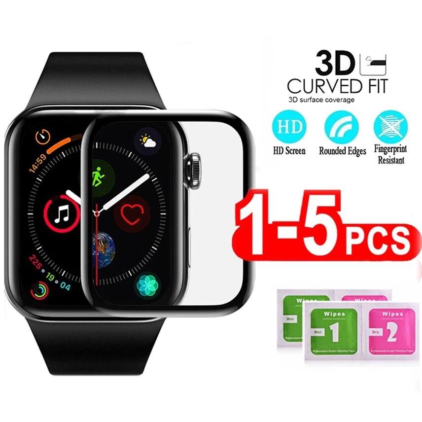 Protetor de tela de cobertura completa 3d para apple watch 5 4 40mm 44mm não temperado filme protetor de tela macia de vidro para iwatch 4/5/6/se