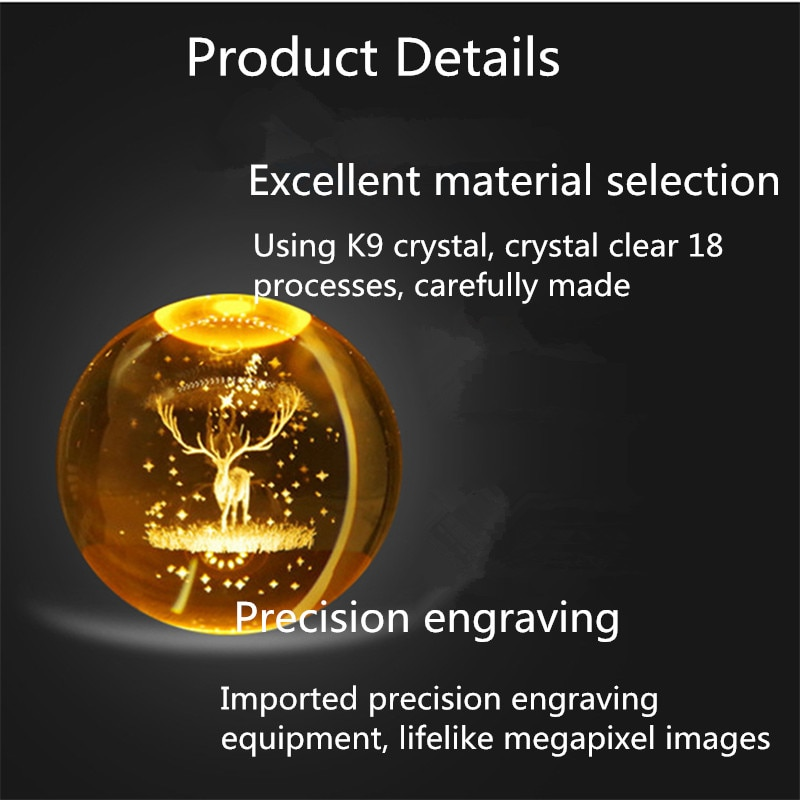 USB Plug-in 3D Carving Starry Sky Moon Light LED Solid Wood Crystal Ball Night Light Living Room Bedroom Decoration Ornaments  - buy with discount
