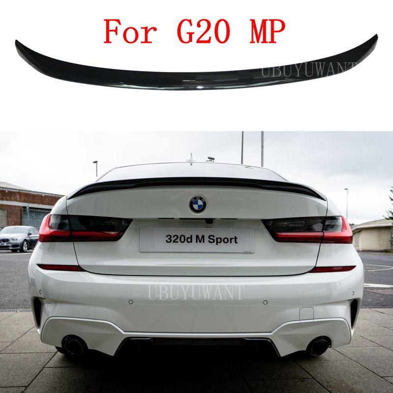 for bmw e90 spoiler trunk wing tail m4 style frp black 3 series 318i 320i 328i 335d 330i 350i 340i tail trunk spoiler wing 05 11 UBUYUWANT For BMW G20 2019 2020 320i 320D NEW 3 Series ABS Exterior Rear Spoiler Tail Trunk Boot Wing Decoration Car MP Styling