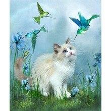 New Cat Diamond Cross Stitch Craft Plastic Canvas Bag Blue Bird and White Cat in Grassland Diamond Embroidery Mosaic Art