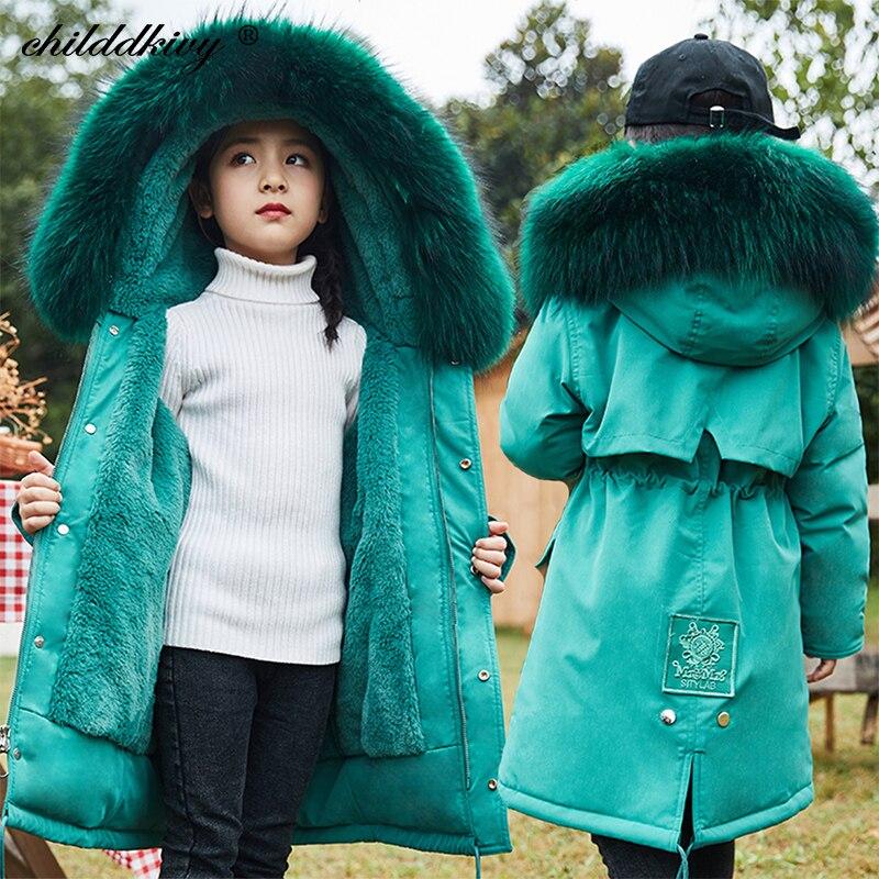 -30 degrees 2020 Children Girls clothes Plus fleece Thicken parka for girl waterproof Winter snowsui