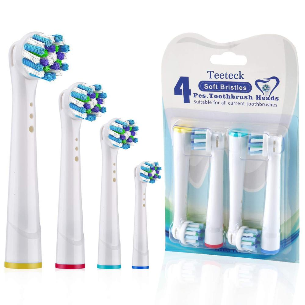 Dual Clean Cross Replacement Toothbrush Heads For Oral B Brush Head Wholesale 4PCS OralB Sensitive Gum Care Toothbrush Heads compatible oral a b sensitive gum care electric toothbrush replacement brush heads sensitive brush heads extra soft bristles