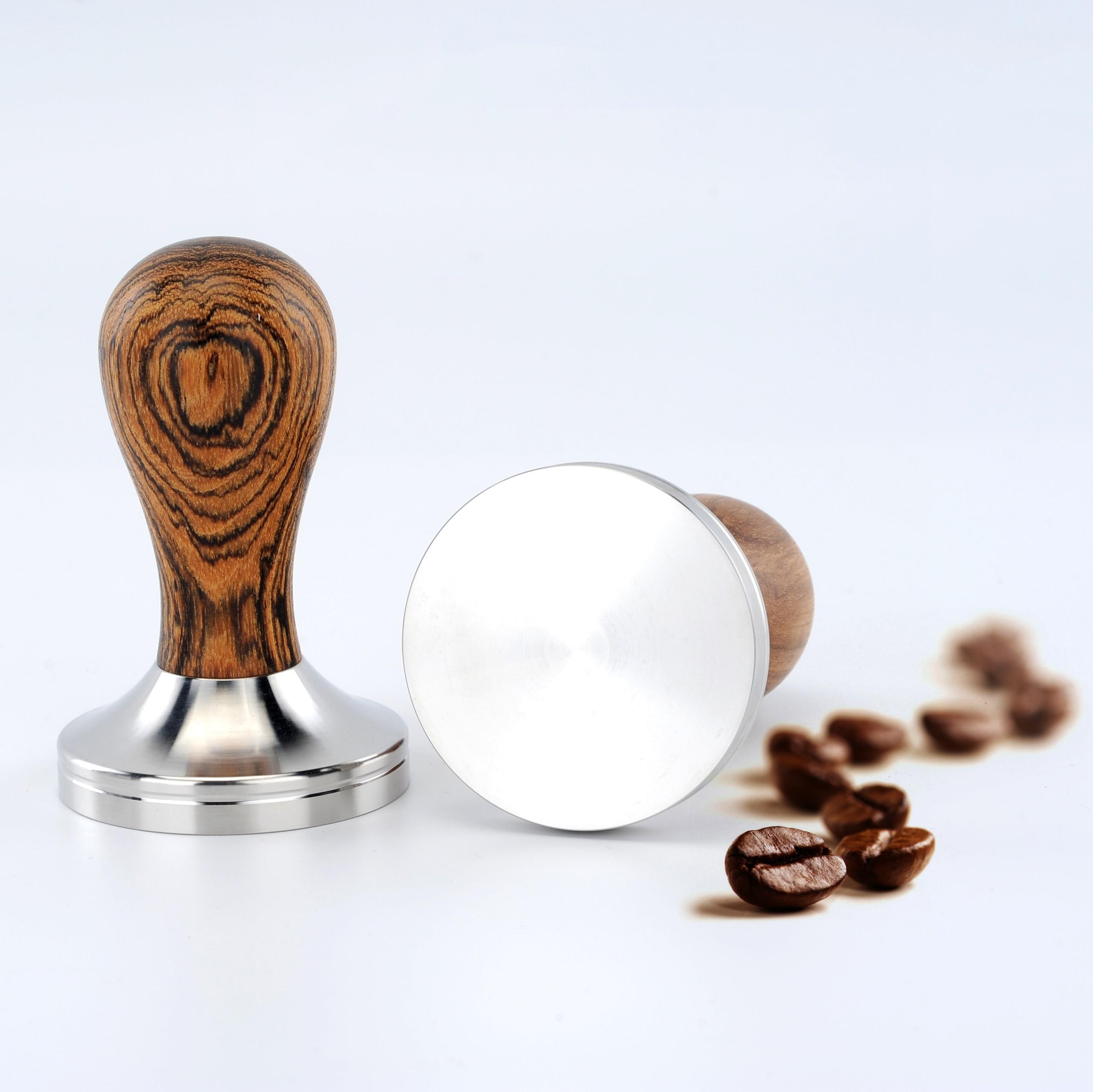 القهوة عبث الذهبي خشب الصندل مقبض الفولاذ المقاوم للصدأ 51/53/54/58 مللي متر القهوة مسحوق مطرقة إسبرسو مقهى باريستا شحن مجاني