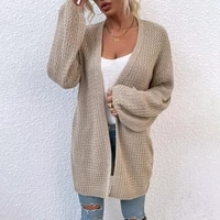 fashion womens sweater new autumn casual hot sale v neck cardigan solid color long loose knitted long sleeved sweater