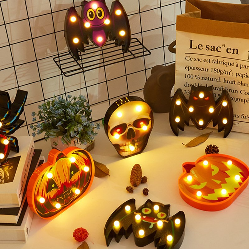 Halloween LED Night Light Pumpkin Ghost Skull Holiday Lights Battery Power Home Bar Bedroom Decorative Lamp Gift Lighting Decor halloween cartoon doll pumpkin witch cat party ideal decoration for club bar shop home showcase bar table shelf holiday decor