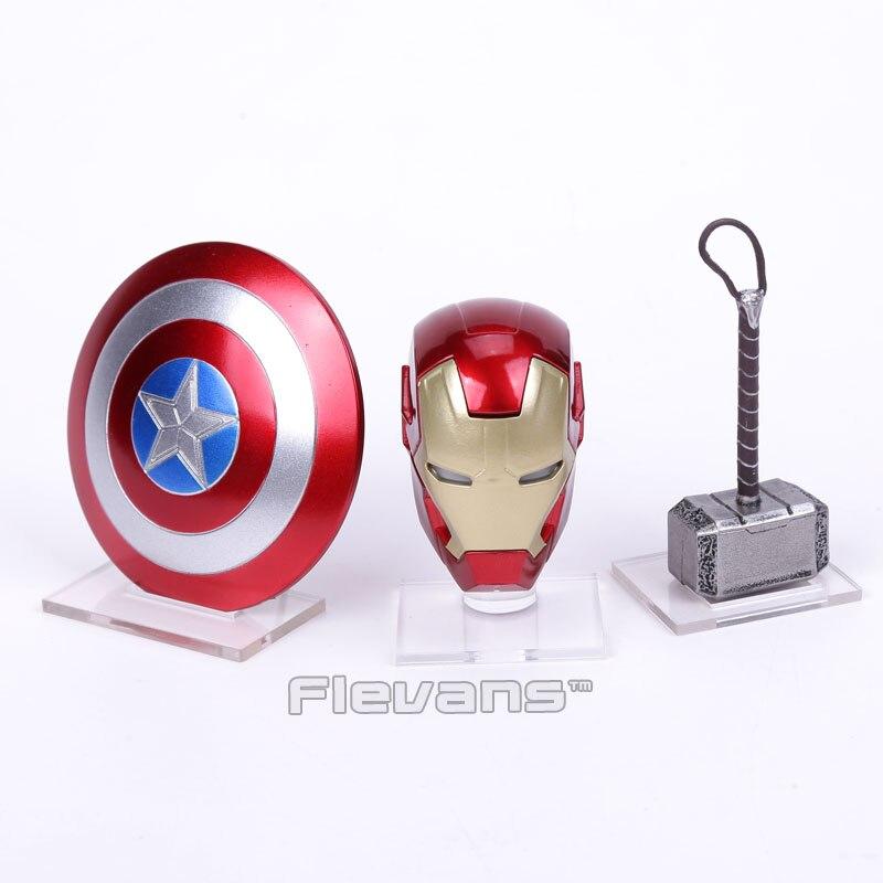 Vengadores 2 Iron Man MK43 LED casco de luz Capitán América escudo Thor martillo con Base acrílica Mini figura de acción Juguetes
