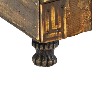 4pcs Retro Leg Corner Protector Antique Brass Jewelry Chest Wood Box Decorative Feet Leg Corner Protector Hardware